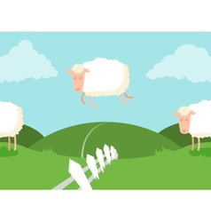 Tileable sheep jumping over the fence vector image vector image