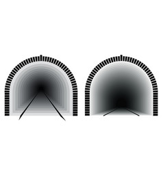 a long and deep railway tunnel way directly the vector image