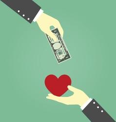 Businessman Hands Exchanging Between Money and vector image