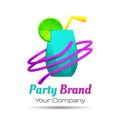 Colorful party cocktail icon Concept for bar menu vector image
