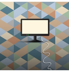 Computer display on retro background vector image vector image