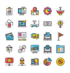 digital and internet marketing icons set 8 vector image