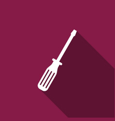 screwdriver flat icon with long shadow vector image