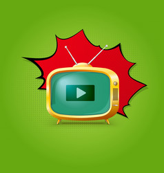 TV on pop-art background vector image