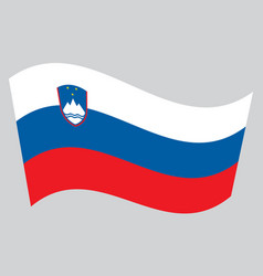 flag of slovenia waving on gray background vector image
