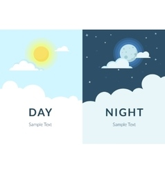 Half day night of sun and moon with clouds vector image