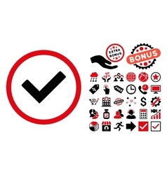 Ok Flat Icon with Bonus vector image vector image
