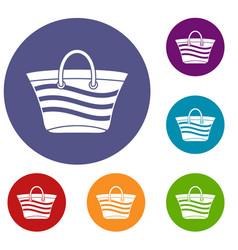 women beach bag icons set vector image vector image