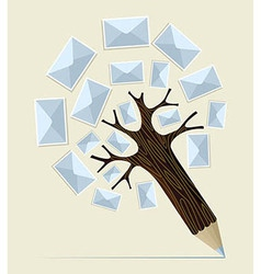 E-mailing concept pencil tree vector image vector image