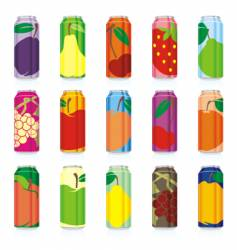 juice cans set vector image vector image