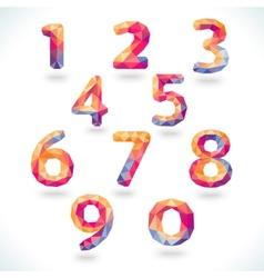 Numbers set in modern polygonal crystal style vector image