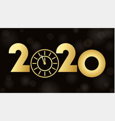 2020 happy new year eve glowing text design with vector image