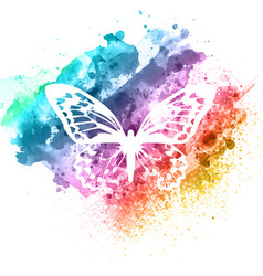 Abstract butterfly design on watercolour texture vector