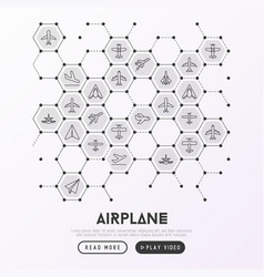 Airplane concept in honeycombs vector