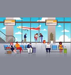 Airport terminal people travel tourist vector