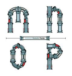 Alphabet typography font cartoon robotic style vector