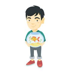 asian boy holding aquarium with goldfish vector image