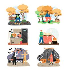 Autumn season holidays and outdoor activities vector