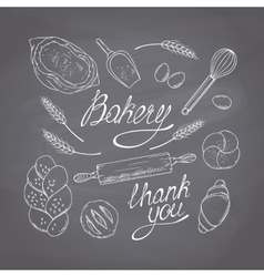 Bakery sketched objects Hand drawn groceries vector image