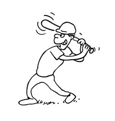 baseball players outlined cartoon on a white vector image