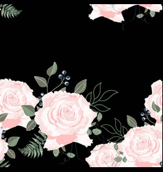 Beige roses with herbs and eucalyptus vector