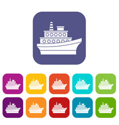 Big ship icons set vector