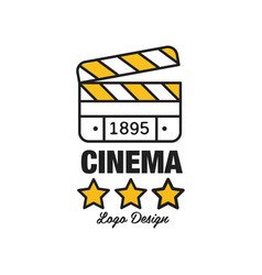 Black and yellow cinema or movie logo template vector