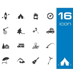 black camping icons set on white background vector image