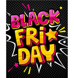 black friday comic speech bubble in pop-art style vector image