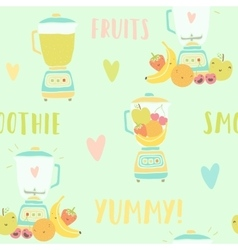 Blender and fruits seamless pattern vector image