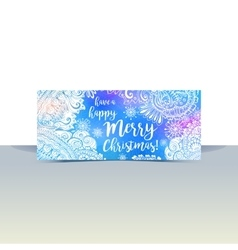 Blue and white winter typography horizontal flyer vector image