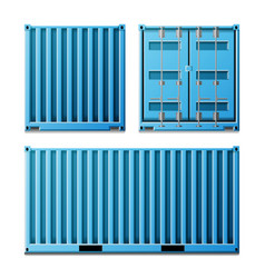 Blue cargo container realistic metal vector