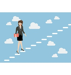 Business woman stepping up a staircase in the sky vector image