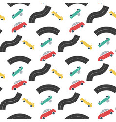 car transport with road seamless pattern vector image