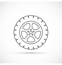 Car wheel outline icon vector