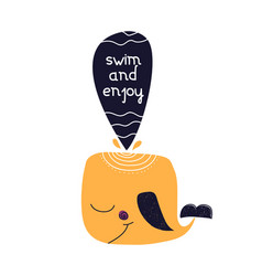 card with lettering swim and enjoy with whale in vector image