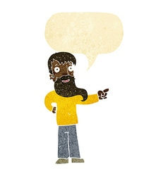 Cartoon man with beard pointing with speech bubble vector