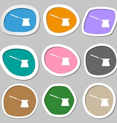 Coffee turk symbols Multicolored paper stickers vector