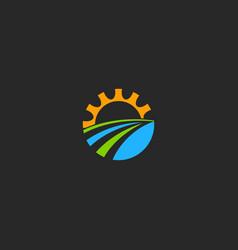 cogwheel gear nature technology logo vector image