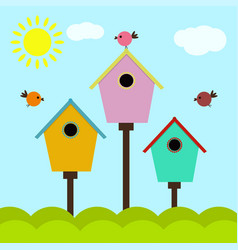 colorful cartoon birdhouses vector image