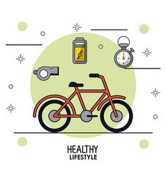 colorful poster of healthy lifestyle with bicycle vector image