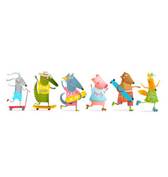 Cool animals skating and skateboarding collection vector