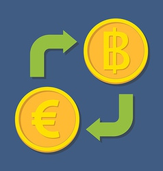 Currency exchange Euro and Baht vector image