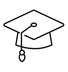 Degree hat icon outline university diploma vector