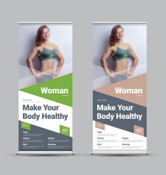 design a roll-up banner with diagonal and vector image