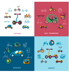 digital eco transport icons set vector image