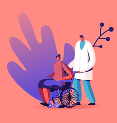 Doctor character pushing wheelchair with sick vector
