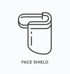 face shield flat line icon outline vector image