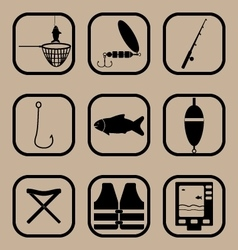 Fishing simple icons set vector image