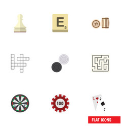 Flat icon games set of lottery mahjong labyrinth vector